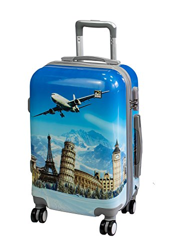 A2S Cabin gepäck ist leicht und langleib Hard Shell gedruckt Koffer mit 8 spiner räder Tasche (Flugzeuge) 55x35x22 cm. (Weltdenkmäler)