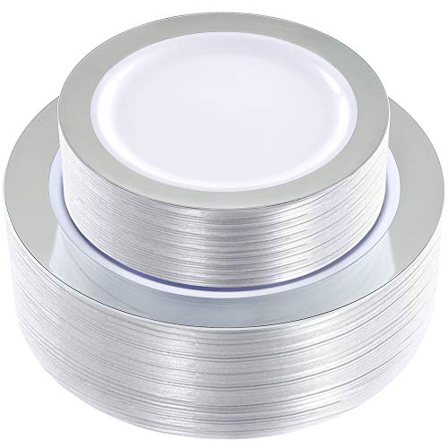 WDF 102 pieces Silver Plastic Plates -Disposable Plastic Plates with Silver Rim -Wedding Party Plates include 51-10.25' Dinner Plates and 51-7.5' Salad Plates
