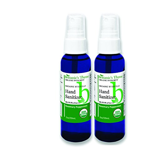Organic Natural Hand Sanitizer Spray, 2 Pack, Rosemary & Peppermint