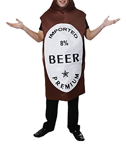 Islander Fashions Heren Bier Fles Kostuum Volwassenen Vlekfeest Boek Week Bier Fles Bodysuit Outfit Een maat