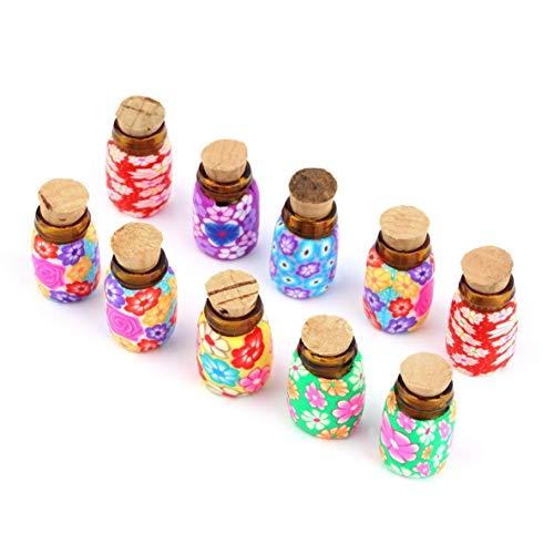 CHOUCHOU Colgante Pendientes 10 PC portátil Mini Botellas de Cristal Arcilla del polímero de Contenedores Viales con Tapones de Corcho Puede Poner en un Poco de Polvo o Perlas de joyería