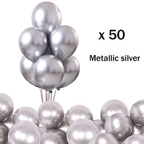 O-Kinee Luftballons metallic Silber 50-Pack Luftballon metallic metallballon Hochzeit Dekorationen Geburtstagsparty Liefert (Silber -50pcs)