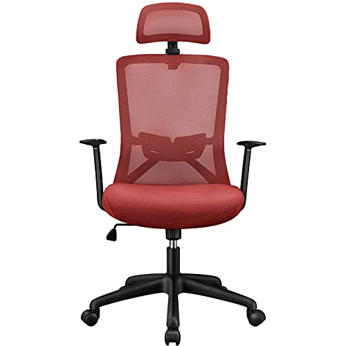 Yaheetech Office Chair Ergonomic Mesh Desk Task Chair, Adjustable Computer Desk Chair with Headrest Comfortable Backrest Swivel Rolling Chair, Lumbar Support High Back Chair for Adults Men Women, Red