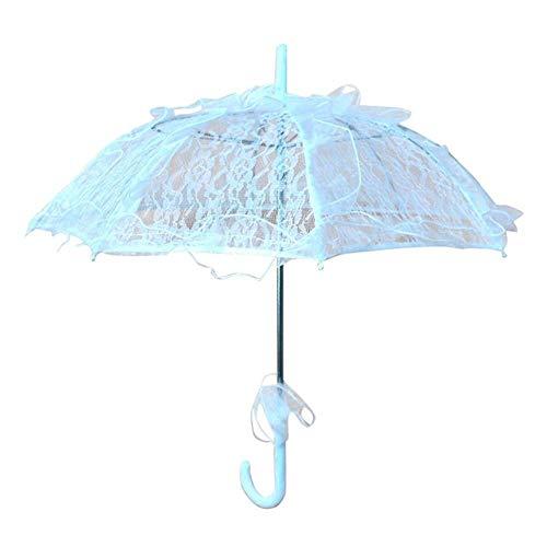 ZHS Paraguas de Novia Colorido para Bodas Old Western Romántico Elegante Apertura Fleur Parasol Volantes Decoración Encaje Paraguas Regalo, Blanco