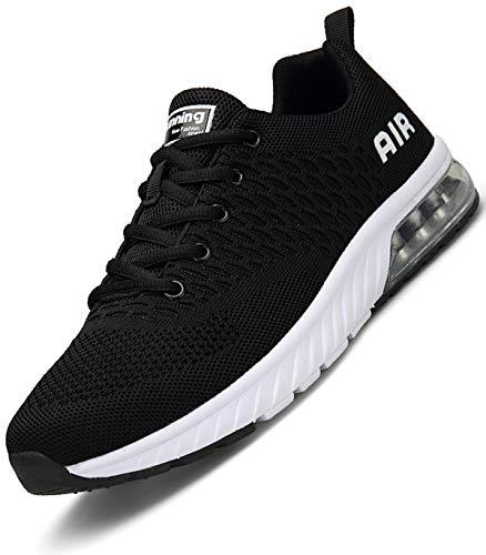 Aire Zapatillas Fitness Hombre Zapatos Deportivos para Casual Correr Transpirables Gimnasio Sneakers Negro 44 EU