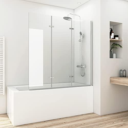 Meykoers Duschabtrennung 130x140 cm Duschwand für Badewanne, 3-teilig faltbar Badewannenaufsatz mit 6mm Nano Easy Clean Glas