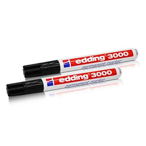 2x Edding 3000 Permanent Marker schwarz 1.5 -3 mm