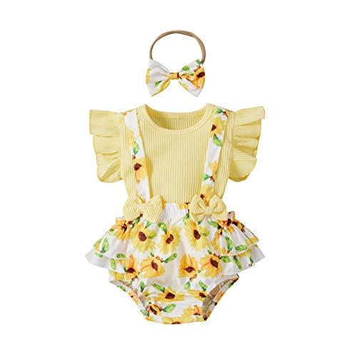 Neugeborenes Baby Mädchen Blumenmuster Sommer Bekleidungsset Ärmellos T-Shirt Top + Rüsche Floral Print Träger Shorts Prinzessin Stirnband Set Outfits (Gelb, 6-12 Monate)