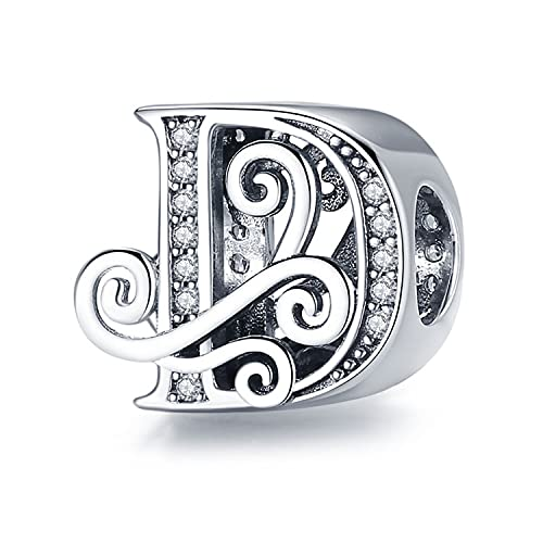 Annmors Letter Charm 925 Sterling Silver Jewelry Making Initial Charm A-Z Charm for Women Alphabet Charms fit pandora Bracelets Beads Snake Chain Necklace (D)