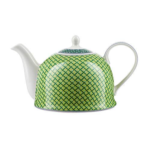 """Jameson & Tailor Iglu-Teekanne Kaffeekanne\""""grüne Karos\"""" Brillant-Porzellan 1200 ml Füllmenge spülmaschinen- und mikrowellenfest"""