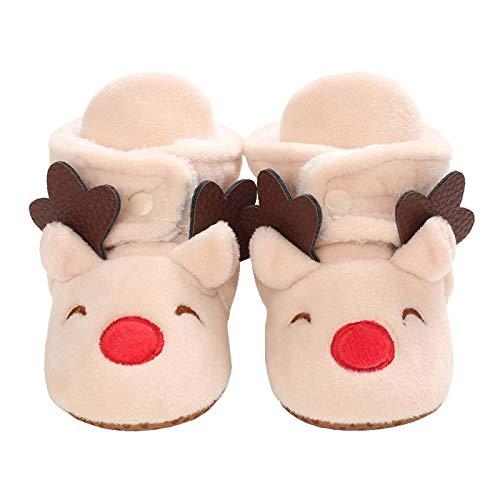 Baby Girls Boys Cozy Fleece Booties Christmas Reindeer Elk Design Newborn Shoes Infant Footwear (Beige, 0_Months)
