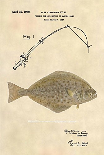 Fishing Wall Art - Halibut Saltwater Fishing Patent Prints Patent Art Poster (8.5 x 11) - 507