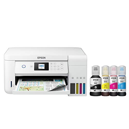 Epson EcoTank ET Series Wireless Color Inkjet All-in-One Supertank Printer - Print Scan Copy - Borderless Photo Auto 2-Sided Printing, Voice Activated, 10.5 ppm, 5760 x 1440 dpi, Card Slot, Ethernet