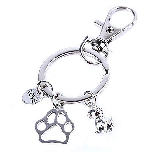 XWYZY Llavero hecho a mano con diseño de perro y dama, con texto 'I Love Lucky Waving Charm Paw Pet For Him Her