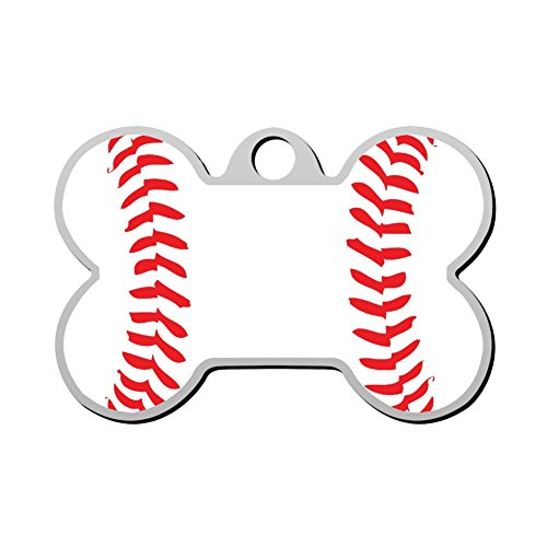 HAOPENGYOU Baseball has me in Stitches Custom Pet ID Tags Personalized Print Front and Back Bone Shape Dog Tags & Cat Tags