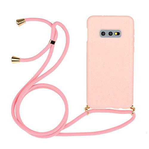 Ingen Funda con Cuerda para Samsung Galaxy S10e- Carcasa Protectora de Silicona con Colgante - Amarillo/Verde Oscuro/Rojo/Negro/Verde/Rosa