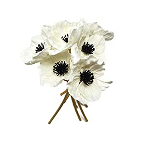 Floral Kingdom 10 inch Real Touch Anemone Poppy Bouquet for Artificial Flower Decor (Pack of 7) (White)