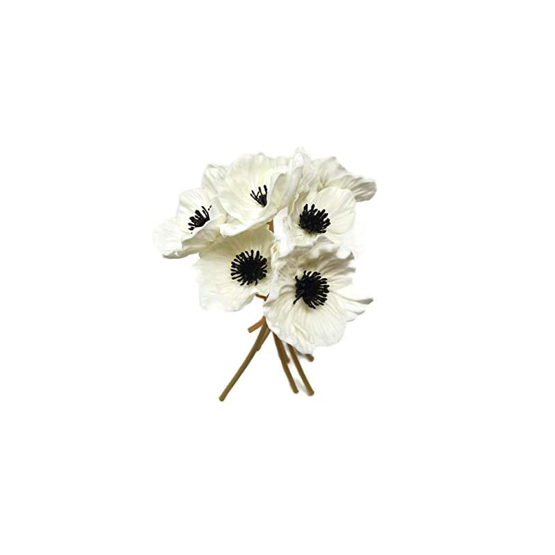 silk flower arrangements floral kingdom 10 inch real touch anemone poppy bouquet for artificial flower decor (pack of 7) (white)
