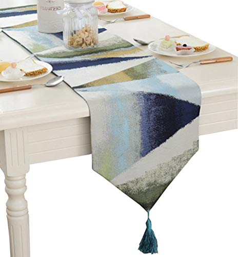 ZebraSmile Ombre Gemetric Table Runners with Tassels Polyester Jacquard Elegant Striped Fall Table Runners for Home Kitchen Dining Table Decoration, Blue 13 X 80 Inch