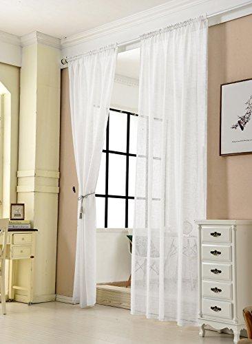 WOLTU® VH5860ws-2, 2er Set Gardinen transparent mit Kräuselband Leinen Optik, Doppelpack Vorhang Stores Voile Fensterschal Dekoschal für Wohnzimmer Kinderzimmer Schlafzimmer, 140x225 cm, Weiß