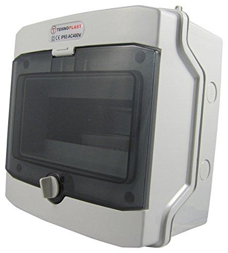 Sicherungskasten Aufputz IP65 Feuchtraum Gehäuse Verteiler Kleinverteiler 1-3 reihig bis 36 Module (1-reihig 8 Module)