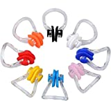 kuou 8 Pieces Swimming Nose Clip, Silicone Swim Training Protector Plug, Each Color