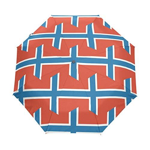 Svalbard und Jan Mayen Islandflagge LSF 50+ Sonnenschirm, wasserdicht, Winddicht, 3 Falten, automatisches Öffnen und Schließen