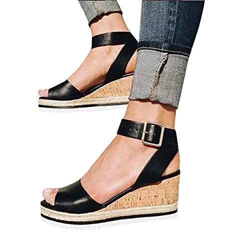 Gibobby Womens Platform Sandals Black Women's Ankle Strap Platform Wedges Sandals Casual Open Toe Espadrilles Sandals for Summer