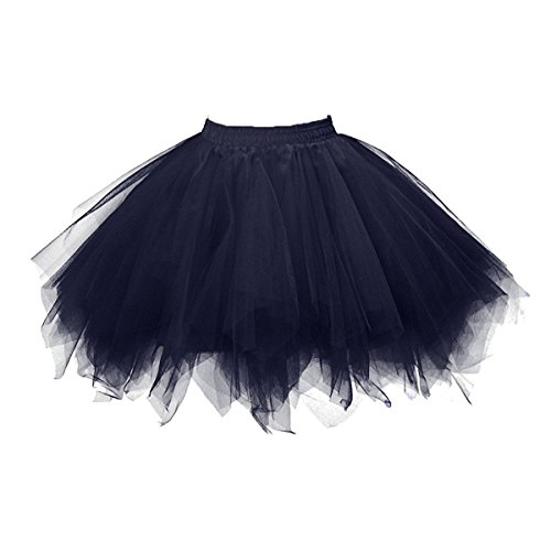 Honeystore Women's Short Vintage Ballet Bubble Puffy Tutu Petticoat Skirt Navy