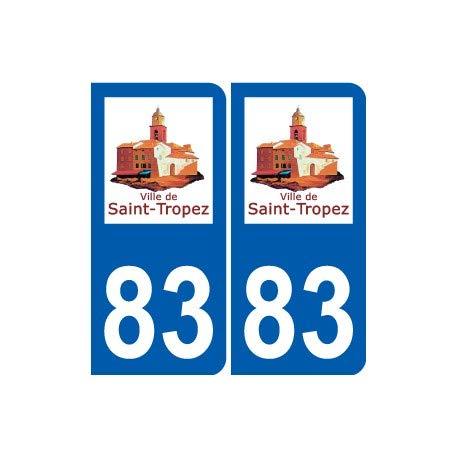 """Aufkleber """"83 Saint-Tropez"""" mit Logo, selbstklebend, Motiv Stadt – Ecken abgerundet"""