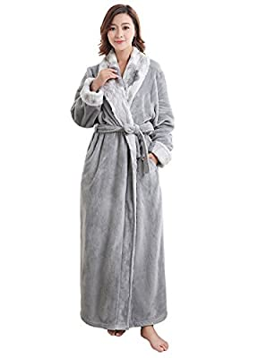 Womens Ladies Velour Robes Sherpa Robe Super Plush Microfiber Fleece Bathrobe