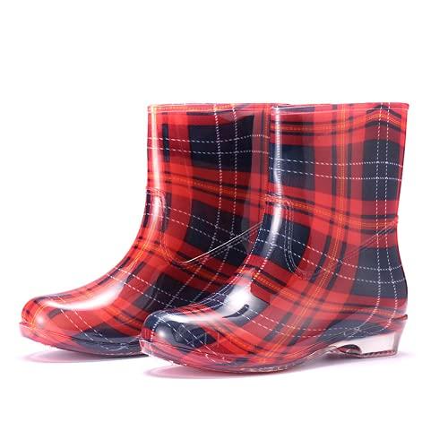 Mode Femme Bottes De Pluie PVC Chaud Mi-Mollet Bottes De Pluie Anti Dérapant Talon Bas Chaussures Eau Imperméables pour Les Filles 07A 38