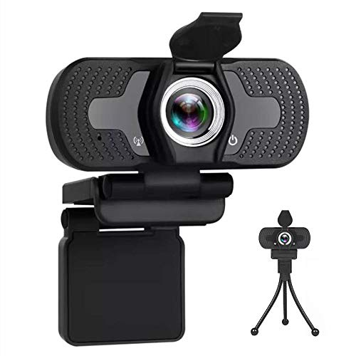 1080p Webcam-with-Microphone for Desktop Laptop, USB Web Camera for Conference Teaching Calling Gaming Streaming Video-Package Include-1 Webcam, 1 Privacy Shutter, 1 Tripod (Full HD 1080p)