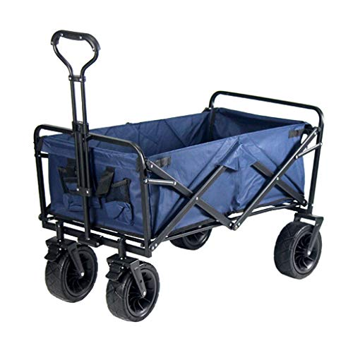 GLJ Outdoor Folding Utility Wagon Folding Camping Cart, Heavy Duty Trolley with Wheels, Family Shopping Truck, for All Terrain, Load-Bearing 100kg / 220lbs, 3 Colors (Color : Style 3)
