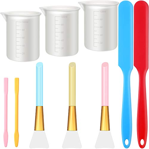 10 Pieces Silicone Stir Sticks Kit, Include 2 Silicone Spatula, 3 Pieces Silicone Epoxy Brushes with 2 Pieces Silicone Stir Sticks, 3 Pieces Silicone Measuring Cups for Mixing Resin Paint DIY Craft