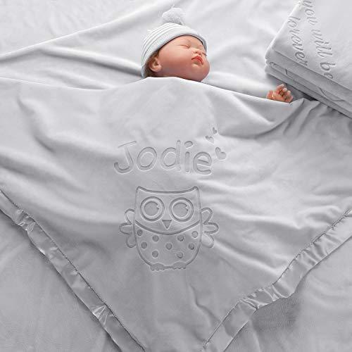 AW BRIDAL Regalos de Búho, Manta para Bebé, Manta para Bebé Con Nombre Personalizado Grande y Personalizado, Decoración de Guardería para Niñas, Suave Felpa, 4 Colores