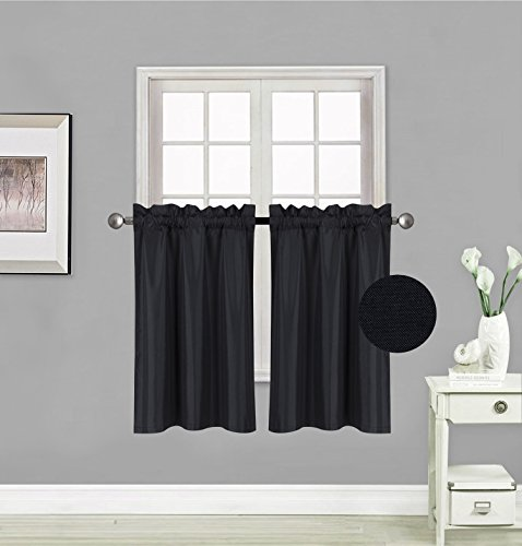 """Elegant Home 2 Panels Tiers Small Window Treatment Curtain Insulated Blackout Drape Short Panel 28"""" W X 36"""" L Each for Kitchen Bathroom or Any Small Window # R5 (Black)"""