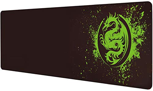 Extended Mouse Pad Anime Dragon Large Gaming Mouse Pad- 31.5x12inch Computer Keyboard Mouse Mat Mousepad Rubber Base and Stitched Edges for Game Players (Green)