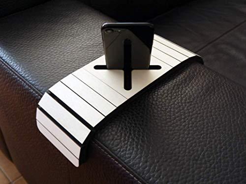 Holz sofa armlehnentisch mit smartphone stehen in vielen farben wie pappel Armlehnentablett Moderner tisch für couch Klein schleichendes sofatisch Armlehne flexibel tablett Falten couchtisch