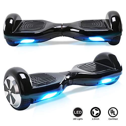 TOEU Hoverboard with LED light, 6.5 inch Self Balancing Electric Scooter, Segway for Kids and Adult Gifts, Black