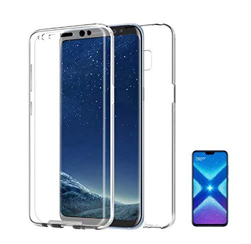 PLANETMOVIL Compatible con [ Huawei Honor 8X ] (6,5 Pulgadas) Funda Integral 360 Carcasa Doble Cara 360 de Silicona Delantera + Trasera TPU rigido Doble 100% Transparente Enteriza y Completa