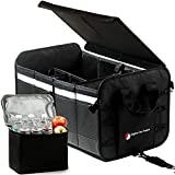 Trunk Organizer with Cooler for Car, SUV, Truck - Collapsible Car Storage Organizer - 3 Compartments, 10 Outside Pockets, Tie-Down Straps, Rigid Lid, Anti-Slip (Black)