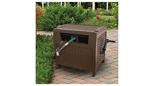 175' Resin Wicker Garden Hose Cart,Box Hideaway Reel, Hose Storage with Reel
