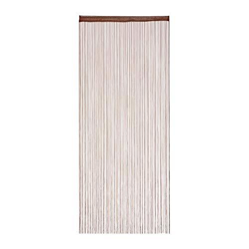 Relaxdays Fadenvorhang, 90x245 cm, mit Tunneldurchzug, kürzbar, für Türen & Fenster, Fadengardine, waschbar, braun