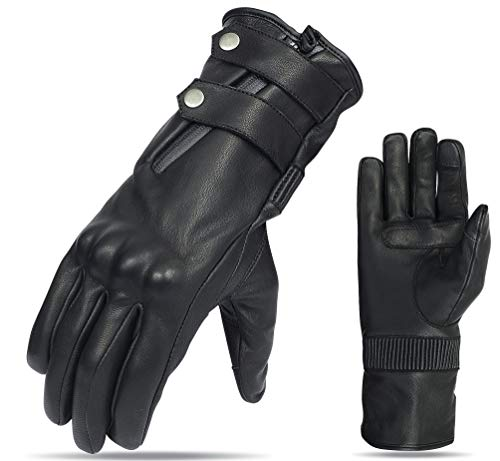 Mens Motorcycle Long Full Finger Armored Guantlet Leather Touch Screen Lined Gloves Waterproof (M)