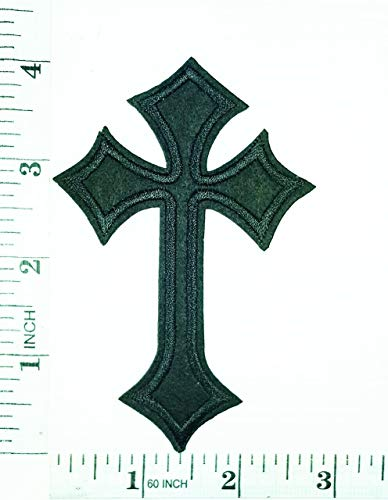 Black Christian Cross Embroidered Patch Crucifix Religious Biker Patches Appliques Fabric Decorating for Hat Cap Polo Backpack Clothing Jacket T-Shirt DIY Embroidered Iron On/Sew On Patch