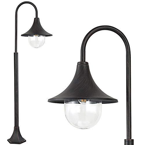 Bakaji Lampione Vittoriano Classico da Giardino in Alluminio Lampada Braccio ad Arco Lanterna a Sfera Colore Nero Finitura Anticata Bronzo IP44 E27 (1 Luce 120 cm)