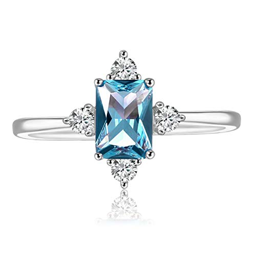 LAZLUVU Blue Topaz Rings, White Gold Engagement Promise Cubic Zirconia Rings Size for Womens Mom Jewelry Size 5
