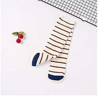 Lovely Socks Children Cotton Socks Kids Spring and Summer Stripe Pattern Mid Tube Socks(Black Stripe) Newborn Sock (Color : White Stripe)
