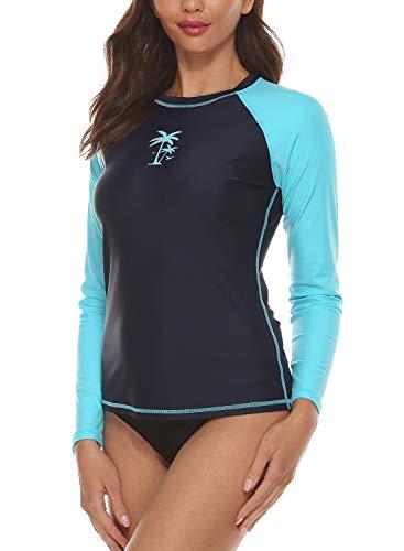 EZIGO Womens Rash Guard Long Sleeve Swim Shirt UPF 50+ Swimwear Shirts Rash Guard Top Pamls Leaf Rash Vest Swimsuits Medium Navy